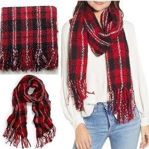 Free People Emerson Plaid Blanket Scarf Red